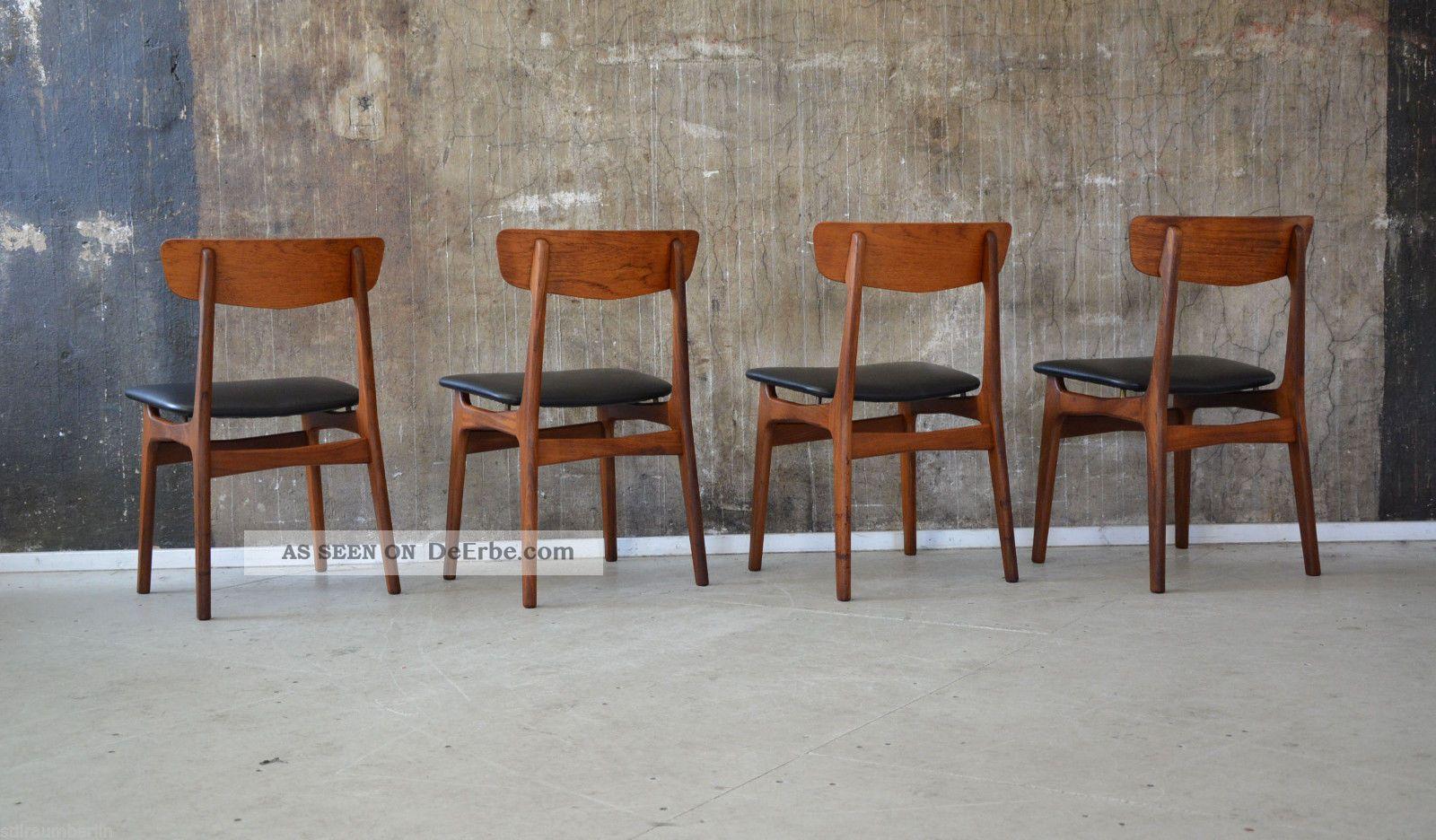 4 x 60er teak st hle esszimmerst hle danish design 60s for Stuhl design epochen