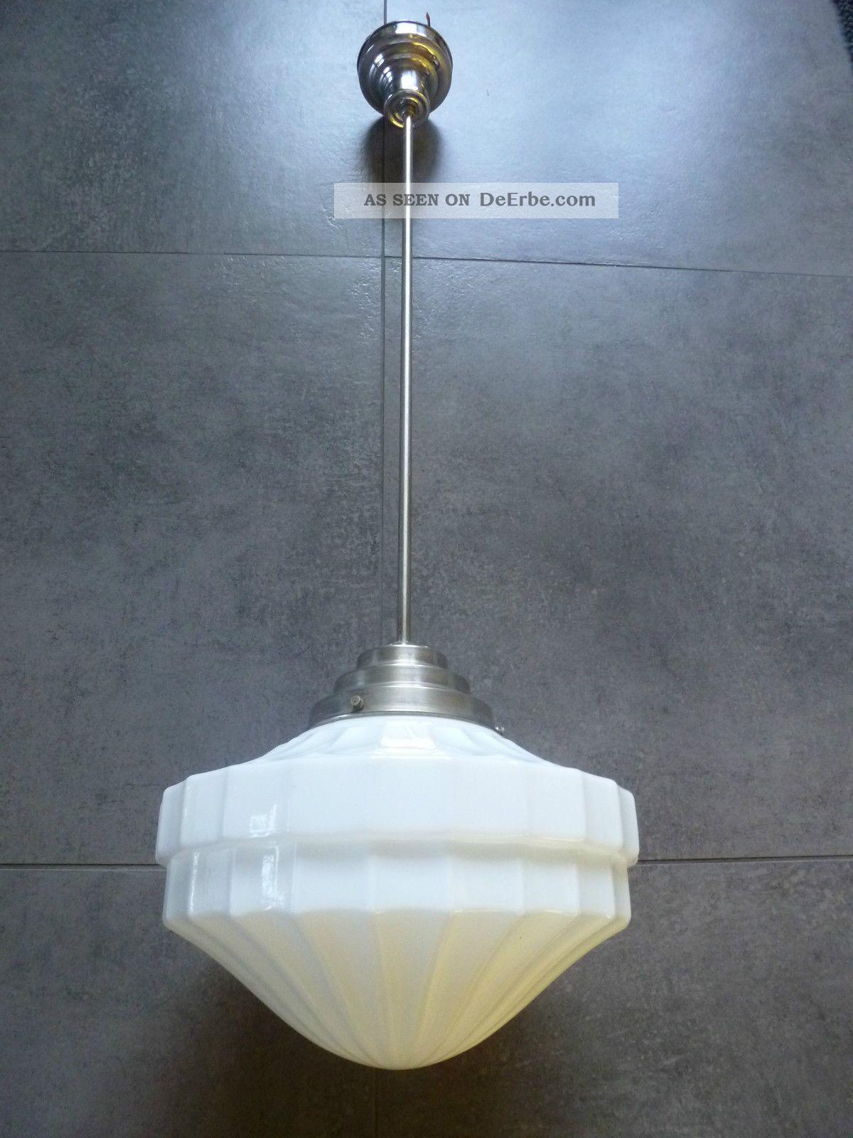 nobel bauhaus 1930 deckenlampe art deco lampe lamp wei glas chrom stange. Black Bedroom Furniture Sets. Home Design Ideas