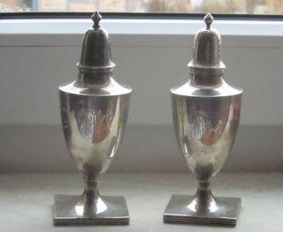 Paar Salzstreuer Gewürzgefäße Zierobjekte Tafelsilber 925 Silber Antik 136 Gr Bild