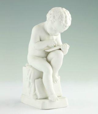Biskuitporzellan Figur Katzhütte Thüringen Schreibender Putto Um 1900 Bild