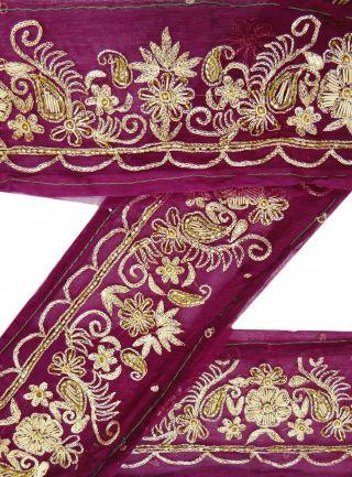 Vintage India Hand Beaded Sari Border Sewing 1yd Lace Purple Trim Art Craft Bild