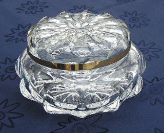 Kristalldose Bonboniere Bleikristall Rund Deckel Mit Breitem Goldrand Sehr Edel Bild