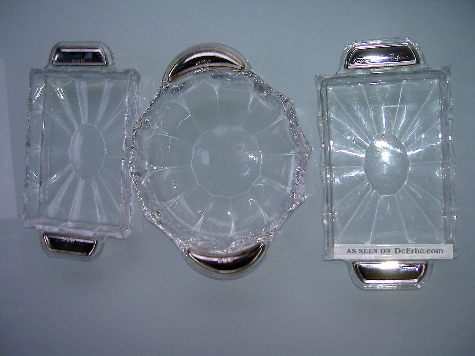 3 kristall anbietschalen mit 800er silbergriffe. Black Bedroom Furniture Sets. Home Design Ideas