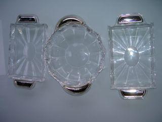 3 Kristall Anbietschalen Mit 800er Silbergriffe Bild