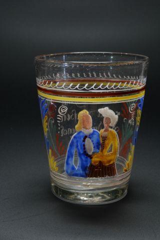 Becher Mit Halbfigurenbild Eines Paares,  Höhe 11,  5 Cm,  18.  Jhd. Bild
