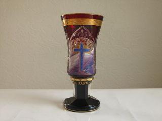 Reichveredelter Überfang Pokal Regenhütte Oberammergau 1930,  Pokalglas,  Kelchglas Bild