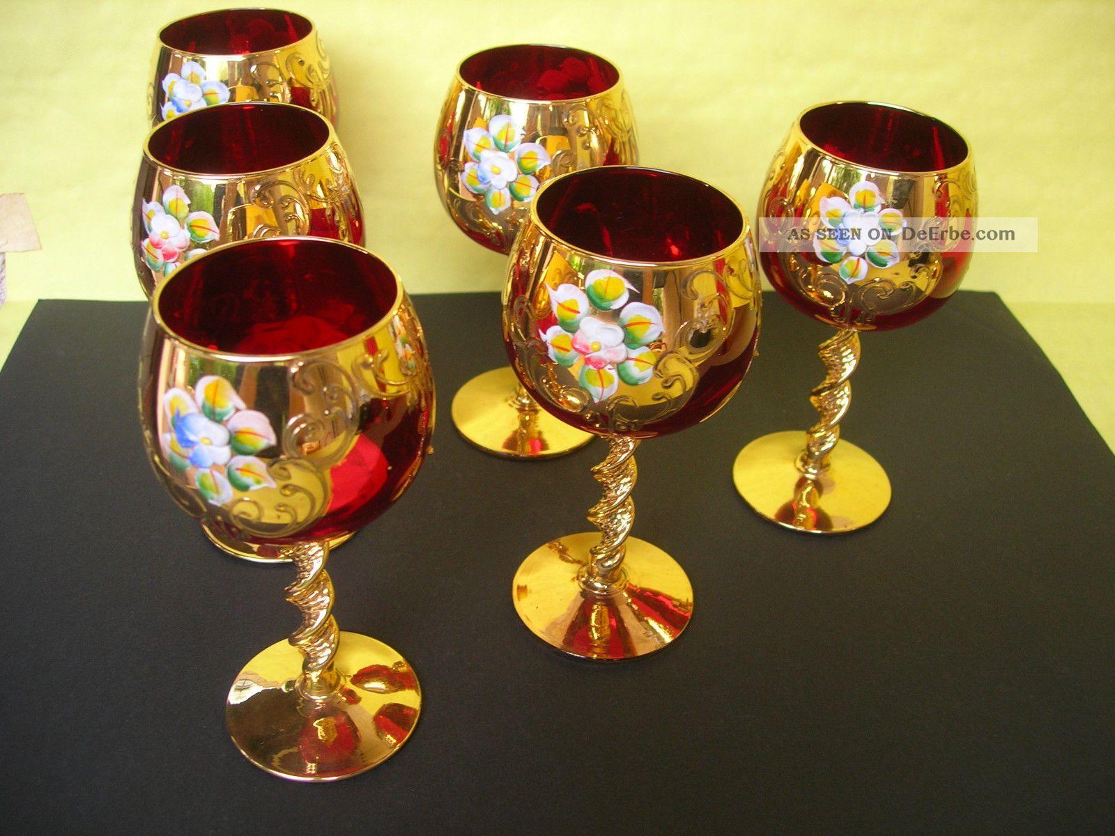 Murano Lik 246 Rservice Service Karaffe Und 6 Rote Gl 228 Ser Rubinrotes Glas Vergoldet