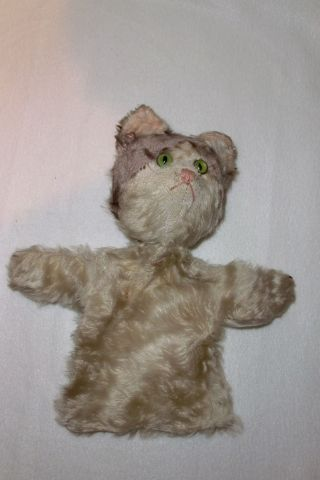 44.  Alte ?steiff? Handpuppe Als Katze,  Mohair Weiß,  Um 1930 Bild