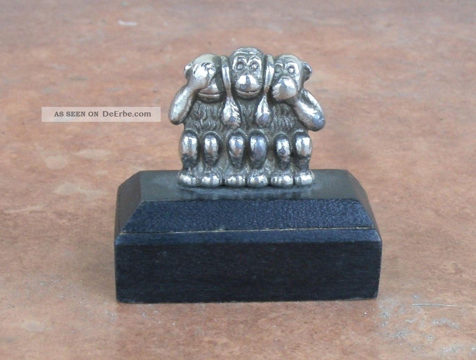 Miniatur Skulptur Cia Symbols Drei Affen Nichts Hören