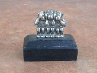 Miniatur Skulptur Cia Symbols - Drei Affen: Nichts Hören,  Nichts Sehen,  Nichts Sagen Bild