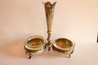 Jugendstil Art Nouveau Salz&pfeffer Garnitur In Silber Zhanstocherhalterung Glas Bild