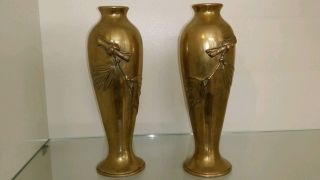 2 Vasen ° Jugendstil ° Messing ° Art Deco ° Zwillinge Bild