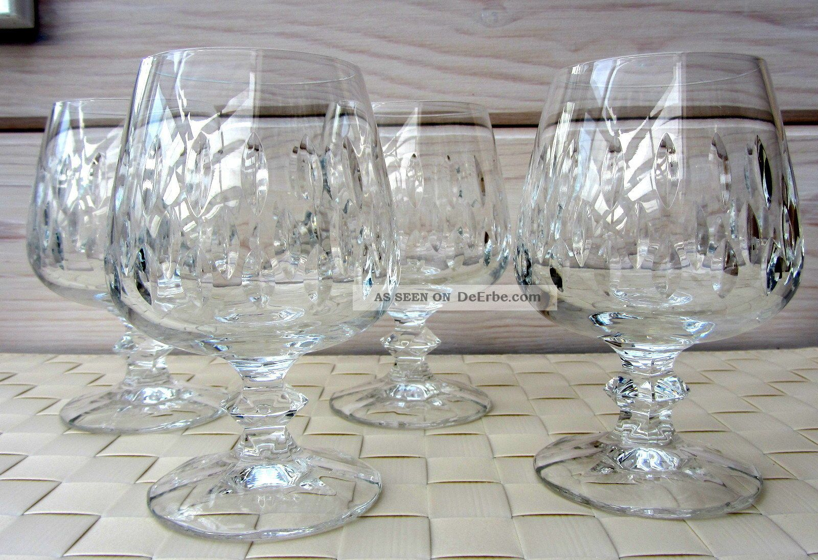4 weinbrand cognac gl ser schott zwiesel bleikristall top vintage 70er shabby. Black Bedroom Furniture Sets. Home Design Ideas