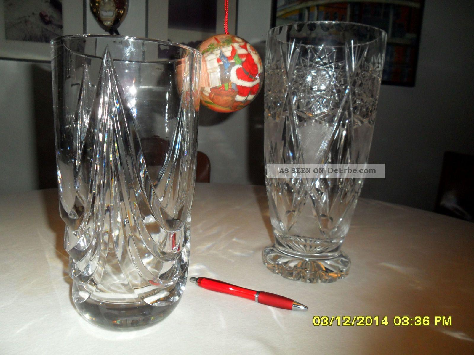 Kristall Vase 2 Stück WunderschÖn Groß Und Schwer Aus Bleikristall Kristall Bild