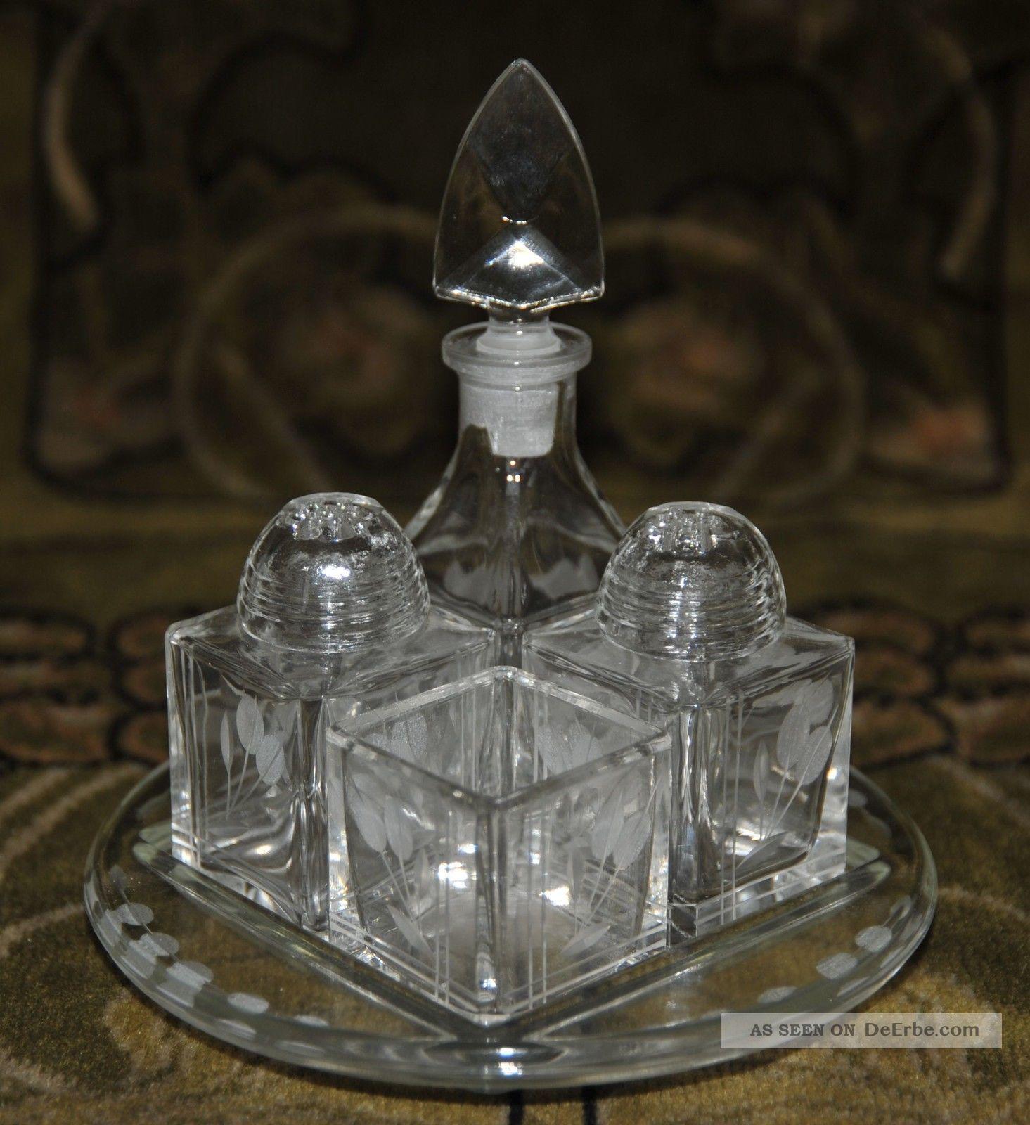 alte menage aus glas salz pfeffer essig l senfgef unbenutzt. Black Bedroom Furniture Sets. Home Design Ideas