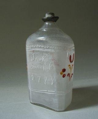 Branntweinflasche AlpenlÄndisch Von 1778 Mit Spruch - Zinnverschluss,  Abriss Bild