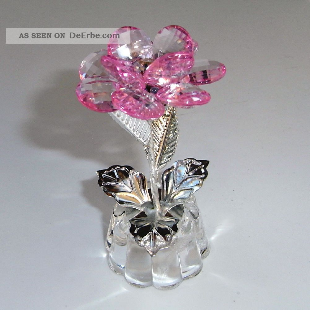 3d deco blume kristall glas metall 90mm feng shui silber trans rose geschenkidee. Black Bedroom Furniture Sets. Home Design Ideas