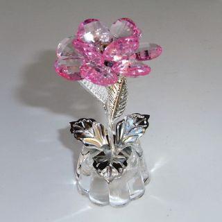 3d Deco Blume Kristall Glas Metall 90mm Feng Shui Silber Trans Rose Geschenkidee Bild