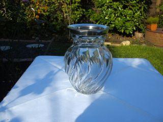 Antike Massive Bleikristall Vase Mit Silbermontierung 835 - - 3 Punzen Bild