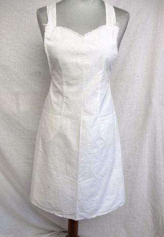 Antike Vintage Schürze Servierschürze Mit Spitze Weiß Zofe Zimmermädchen Bild