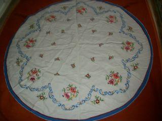Festliche Runde Leinen Tischdecke Bestickt Handarbeit Wie 130cm Bild