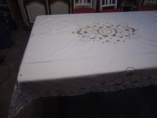 Alte Tischdecke,  Tafeltuch,  Weiß,  Rechteckig,  Tischdecke Mit Lochstickerei,  170x130cm Bild