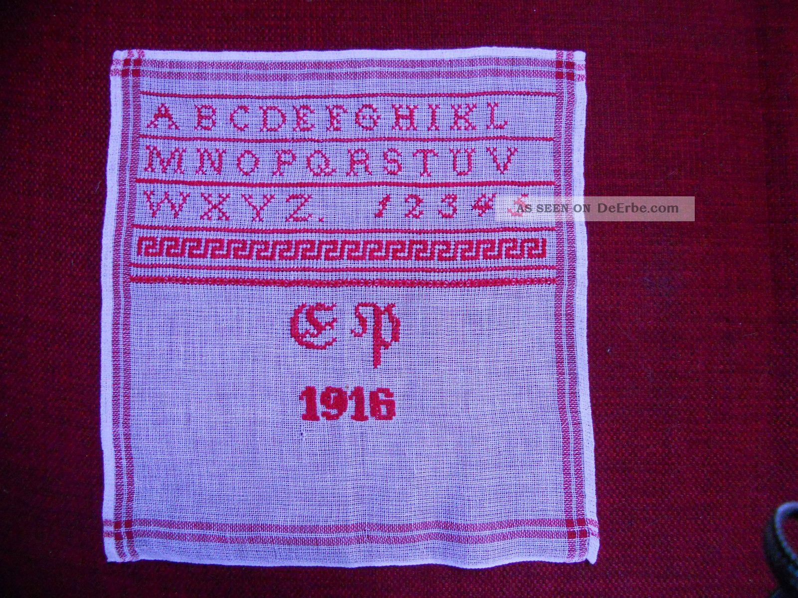 Mustertuch Stickmustertuch Stickbild Abc Rotstickerei Antik Textilien & Weißwäsche Bild