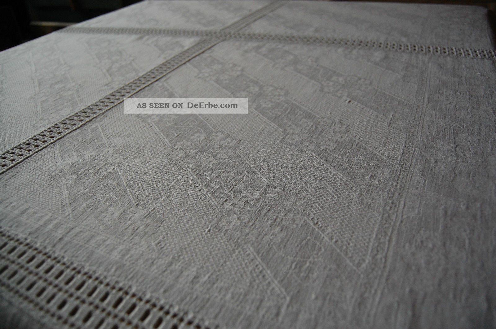 Handarbeit Häkeldecke 170 X 115 Mit 6 Feldern Aus Antiken Geometrischen Leinen Tischdecken Bild