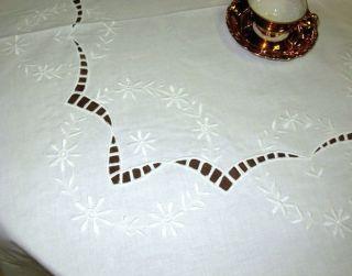 Runde Tischdecke Tischtuch 150cm Stickerei Richelieu Weiß Baumwolle Bild