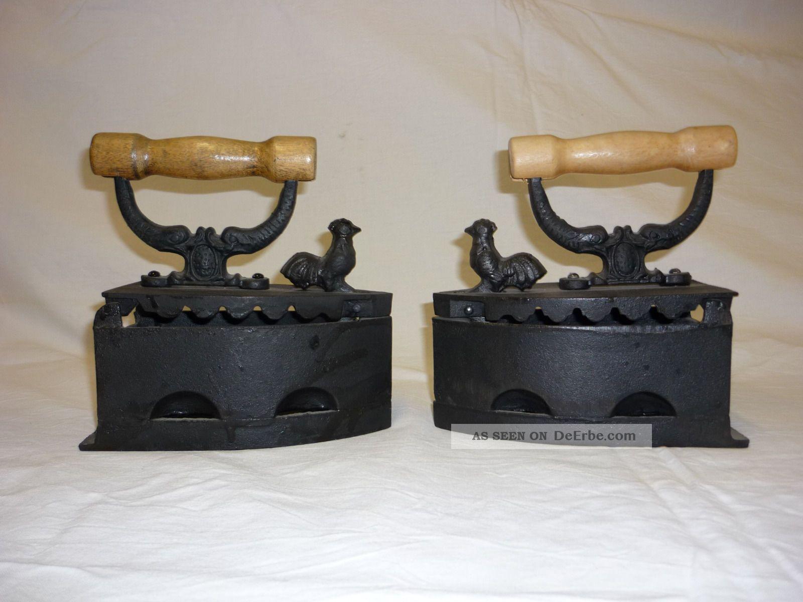 2 Alte Antike Kohle - Bügeleisen Für Deko. Haushalt Bild