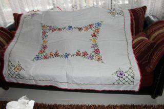 , Weihnach Idee,  Antik Leinen Tischdecke,  Blumen Stickerei,  Häkelspitze Bild