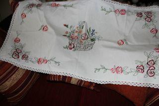 , Weihnach Idee,  Antik Leinen Tischdecke,  Rosen Stickerei Bild