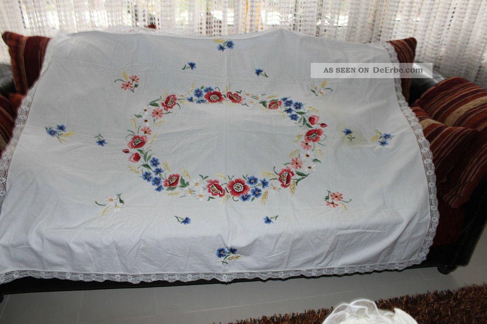 , Weihnach Idee,  Antik Leinen Tischdecke,  Moon Blumen Stickerei Tischdecken Bild