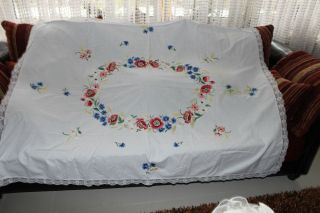 , Weihnach Idee,  Antik Leinen Tischdecke,  Moon Blumen Stickerei Bild