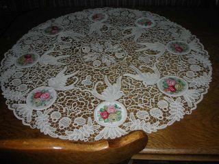 Bildschöne Runde Tischdecke,  Durchmesser 85 Cm Bild