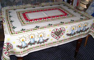 Weihnachtsdecke,  Tischdecke,  150 X 122 Cm,  Dunkelbeige - Gelblich,  Reich Bestickt Bild