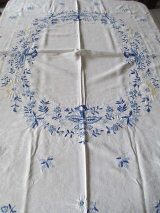 Schöne Alte Tischdecke,  Mit Blauer Stickerei Bild
