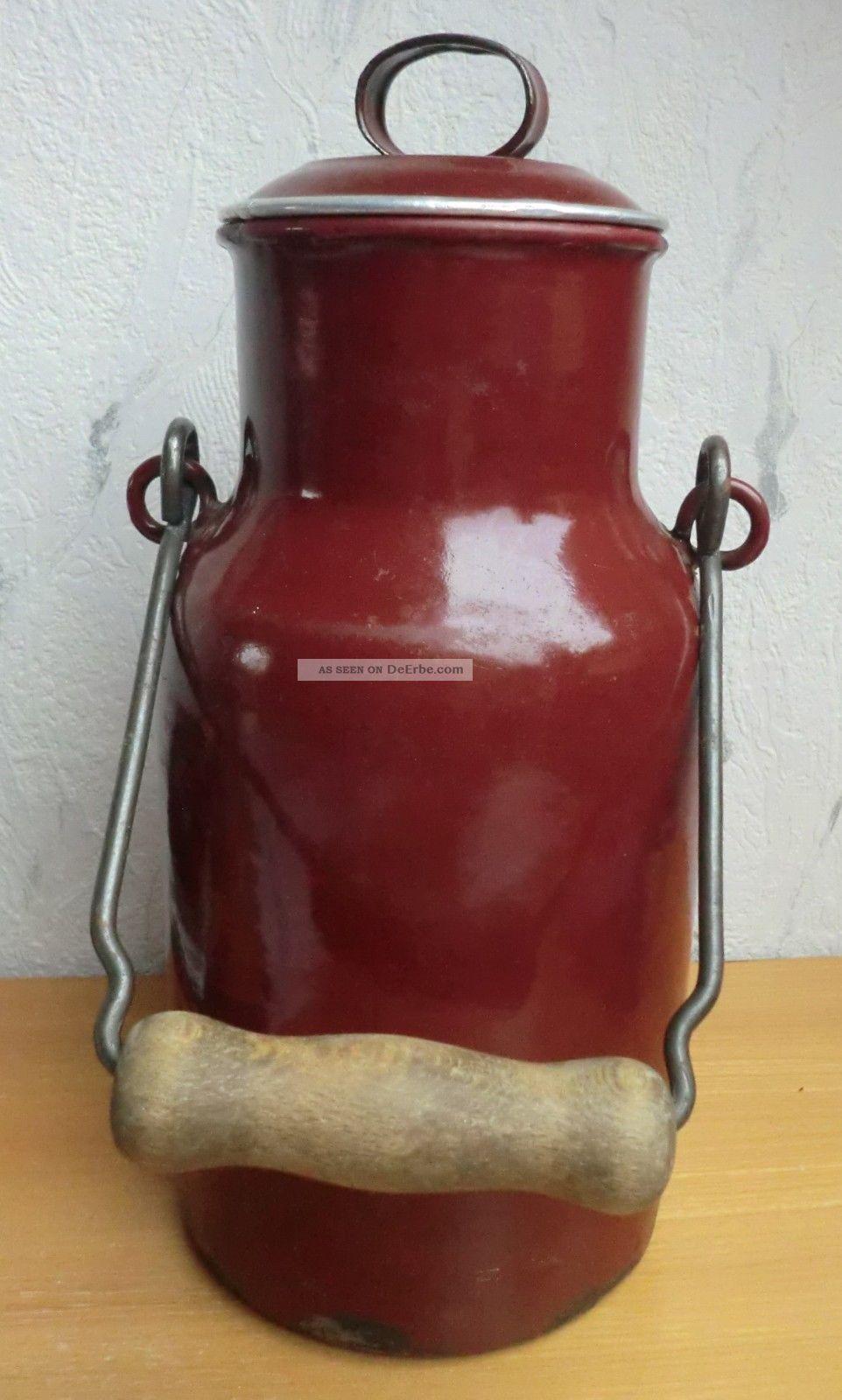 Alte Emaille Milchkanne Aus Ca.  1930 - - 2 Liter Haushalt Bild