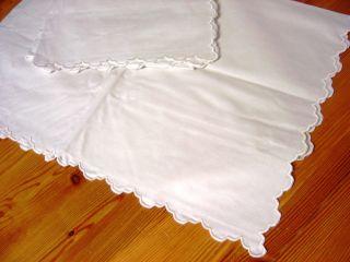 2 Alte Kopfkissenbezüge,  Weiß,  79 X 75 Cm,  Mit Bogenrand,  Unbenutzt Bild