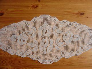 Häkel - Deckchen,  Creme - Weiß,  Oval,  26 X 55 Cm,  Handarbeit Bild