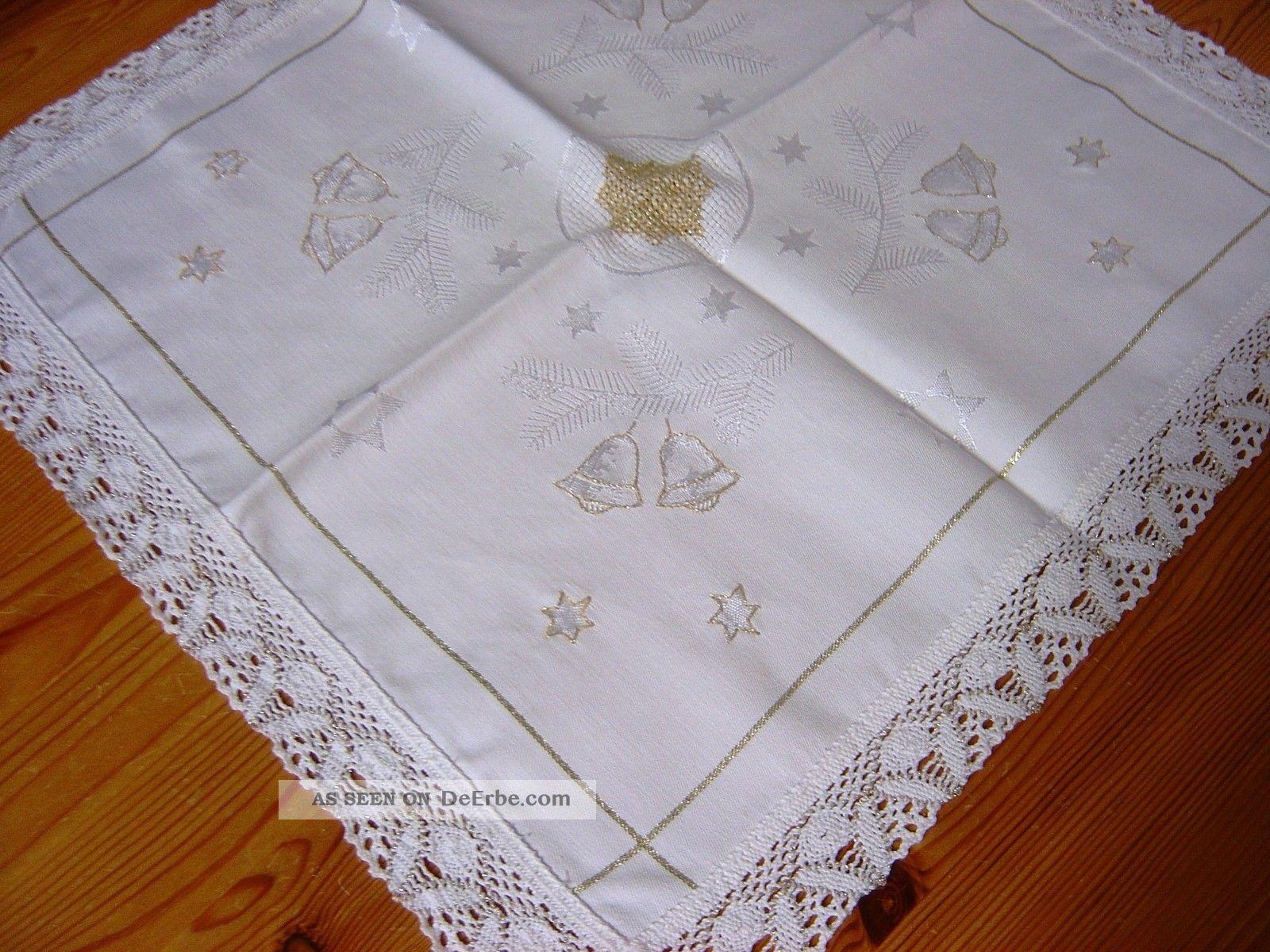 Weihnachts - Deckchen,  Creme - Weiß,  Satin,  Spitze,  Stickerei,  Handarbeit 44 X 44 Cm Tischwäsche Bild