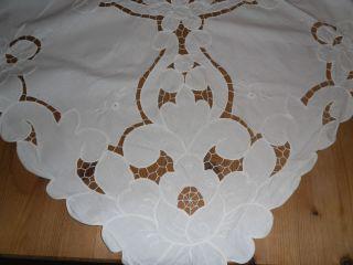 Tischdecke Weiß 100 Baumwolle Lochstickerei Edel Mitteldecke Blütenmuster Top Bild