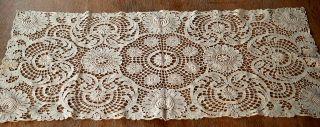 Wunderschönes Antikes Plauener Spitzendeckchen - Creme - Rechteckig Bild