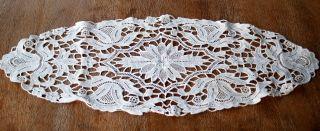 Wunderschönes Antikes Plauener Spitzendeckchen - Weiss - Oval Bild