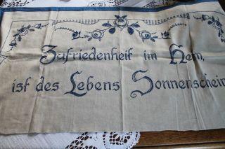 Alte Decke Handbestickt Schmucktuch Spruch Leinen Bild