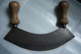 Antikes Wiegemesser,  Einschneidig,  Stahl - Wiegemesser Mit Holzgriff,  Küchenhelfer Bild