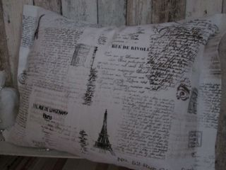 KissenhÜlle Vintage Schriften Weiss/creme Leinen Ca.  40x57cm Bedruckt Bild