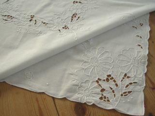 Weißbestickte Baumwoll Mitteldecke 84 X 84 - Handarbeit Bild
