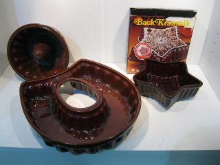 3 Stück Backform Backformen Gugelhupf Aus Keramik Shabby Stil Bild