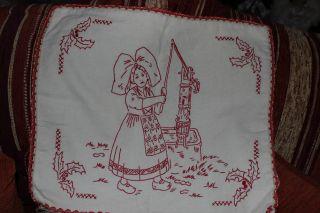 , Weihnach Idee,  Antik Leinen Kissen Hülle Rot Stickerei Bild
